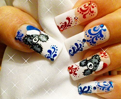winter teddy bears french nails