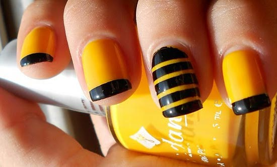 yellow black french summer nails