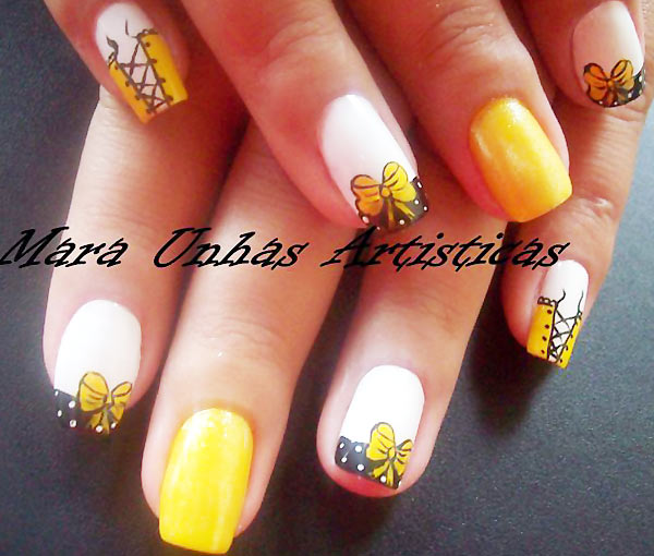 yellow bows corsets girly french nails
