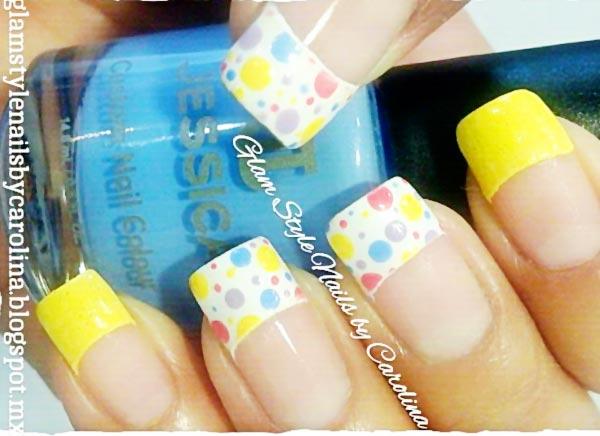 yellow colorful dots joyful french nails