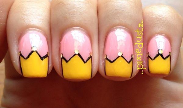 yellow crown tips pink princess nails