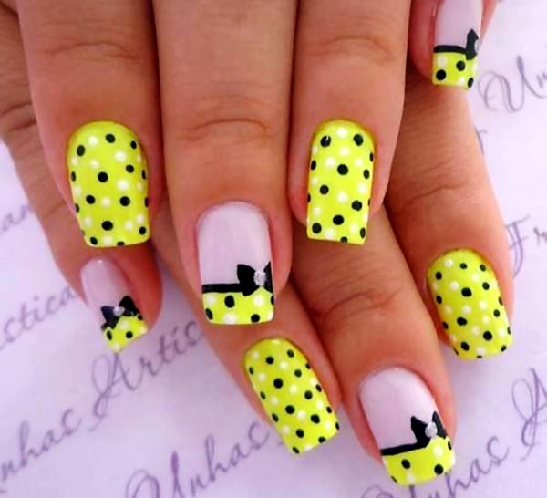 yellow dotted french bow joyful nails