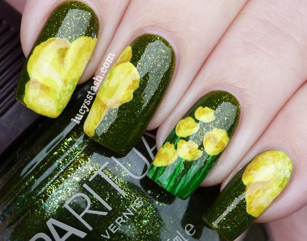 yellow flowers black green shimmer nails