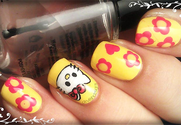 flowers yellow hello kitty nails