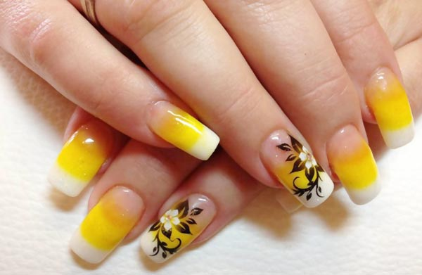 yellow gradient french flower accent nails
