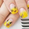 yellow gradient glitter tweety nails
