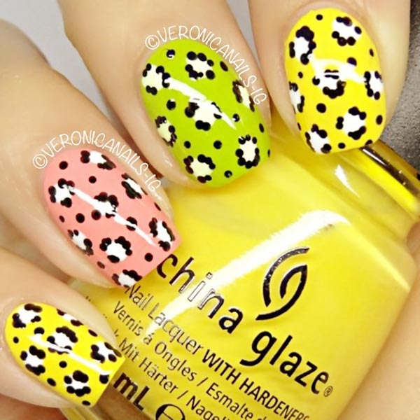 yellow green pink dotted leopard nails
