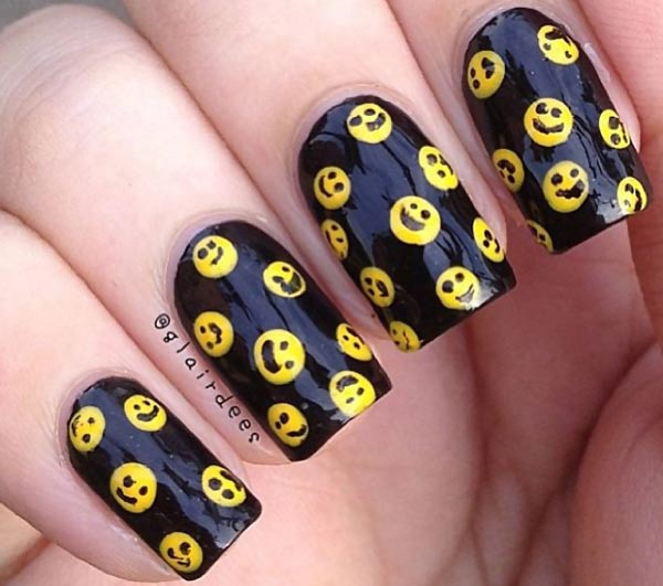 yellow happy faces black funny nails