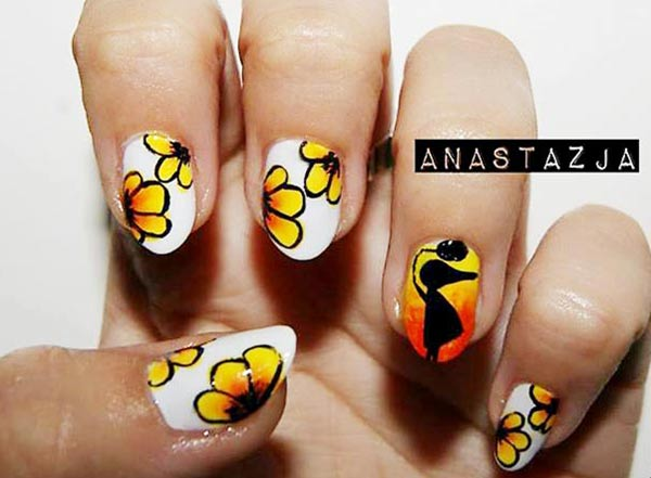 yellow one stroke flowers on white nails