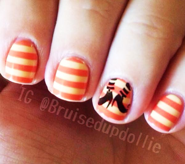 yellow orange candy stamped halloween nails
