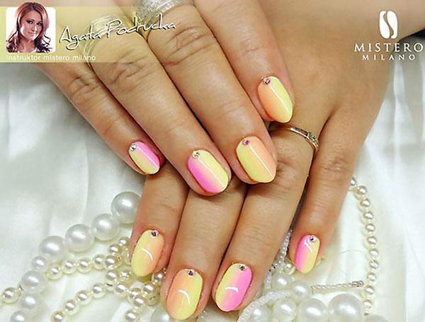 yellow pink gradient pastel nails