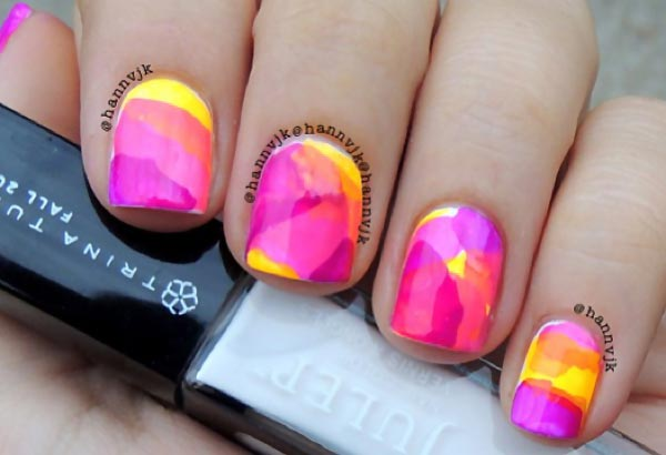 yellow pink orange neon watercolor nails - Favnails