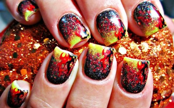yellow red gradient flames nails