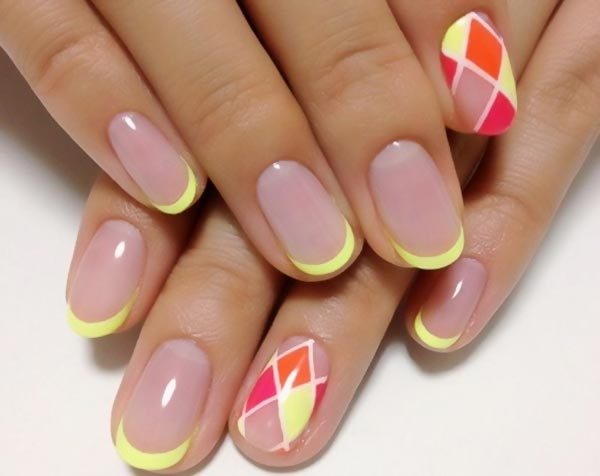 yellow tipped french harlequin nails