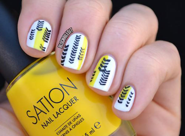 yellow white black abstract art nails