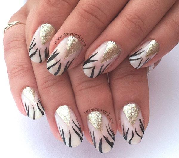 zebra french gold triangle festive nails