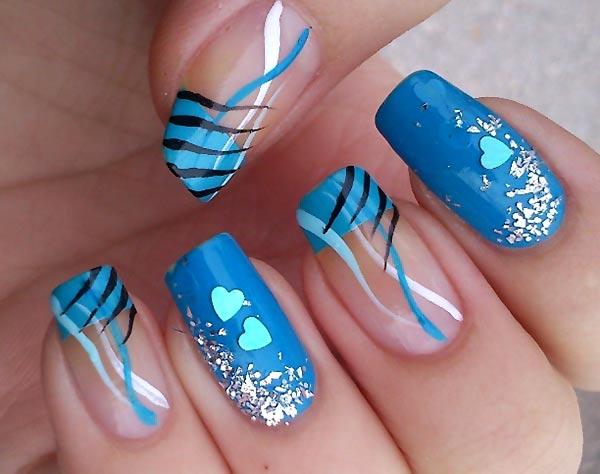 zebra glitter hearts turquoise french nails