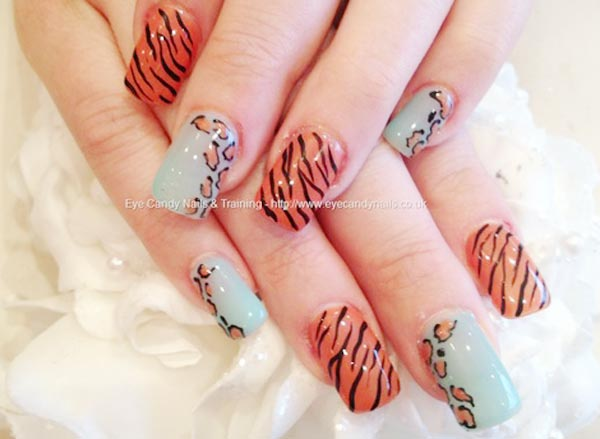 zebra leopard nails