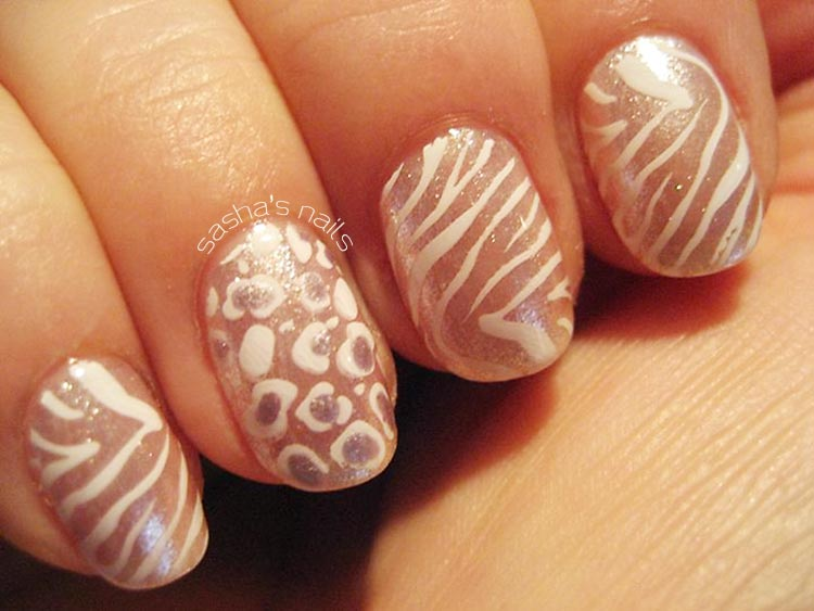 zebra leopard stamped shimmer nails