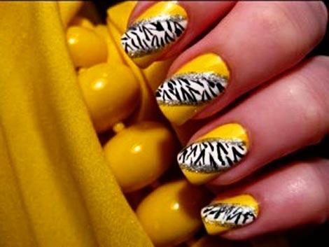 zebra neon nails