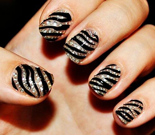 zebra rhinestones nails