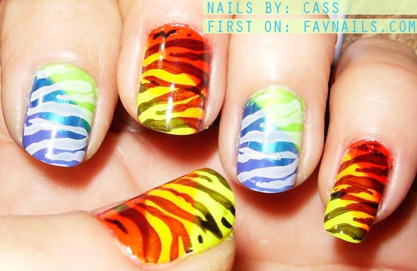 zebra stamp neon gradient summer nails