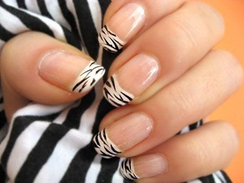 zebra tips french nails